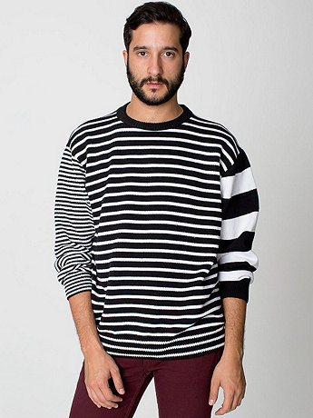 Recycled Cotton Mixed Stripe Pullover | American Apparel