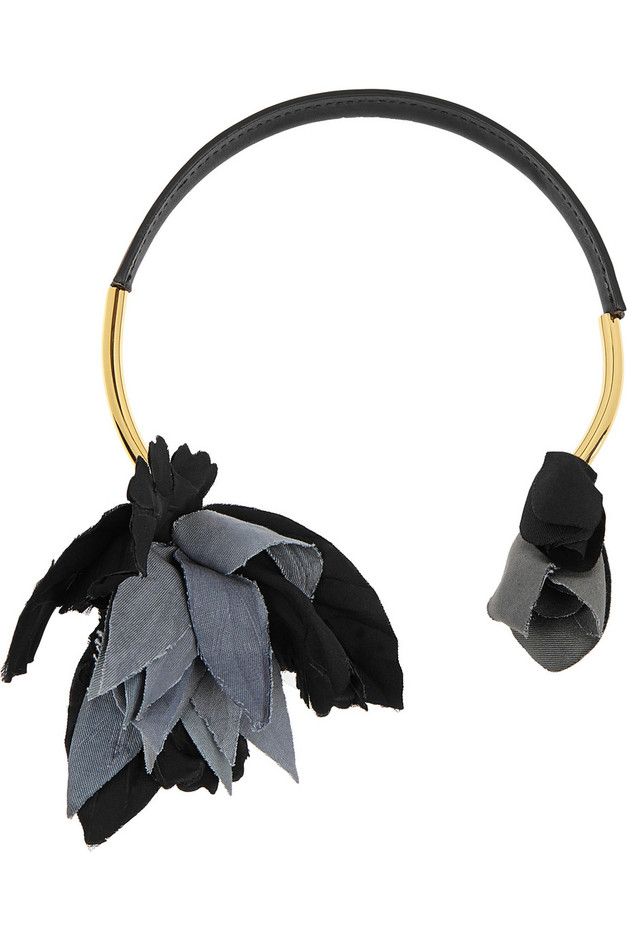 Marni|Gold-plated, leather and grosgrain necklace|NET-A-PORTER.COM