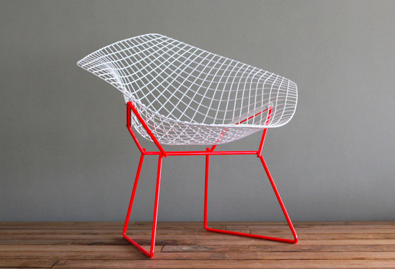 Two Tone Bertoia Diamond for Knoll Vintage Upcycled by castandcrew
