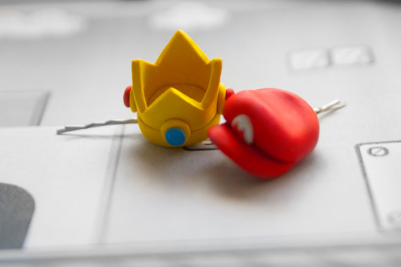 Bobby pin Princess Peach Crown or Mario Hat by lizglizz on Etsy