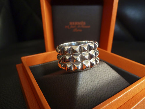 NEW Hermes solid 925 sterling silver palladium coated CDC ring. UNISEX STUNNING | eBay