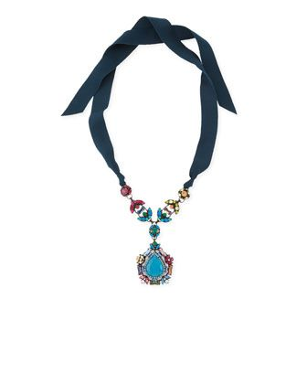 Multicolor Crystal Pendant Necklace with Ribbons - Lanvin