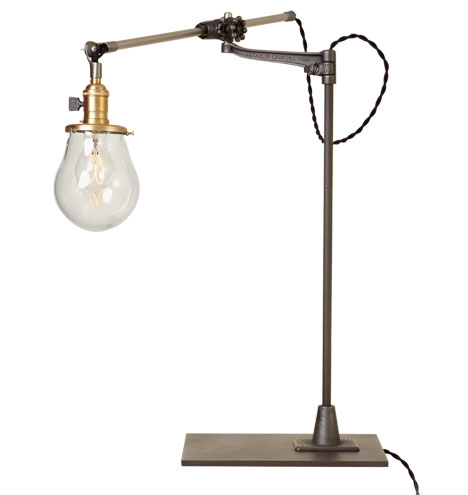 Rejuvenation   Lone Rock Bench-Mount Table Lamp: O.C. White Industrial Table Lamp