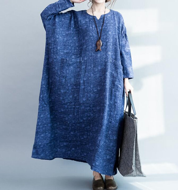 Cotton and linen Loose Fitting Maxi Dress oversized by MaLieb