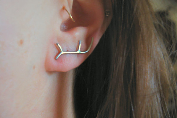 Sterling Silver Antler Earrings by AutumnEquinox on Etsy