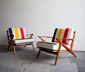 interior ◆ Notions / Chairs upholstered in Hudson Bay blanket