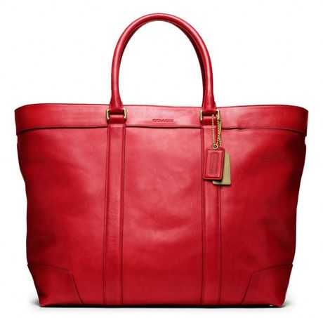 Coach Bleecker Legacy Leather Weekend Tote in Red for Men (chili)   Lyst