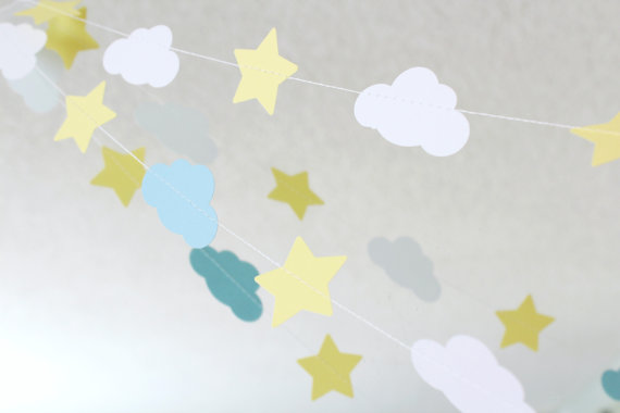 Blue White Yellow 10 ft Star and Cloud Paper by FancifulChaos