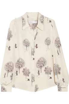 See by Chloé|Cats and Trees printed silk blouse|NET-A-PORTER.COM