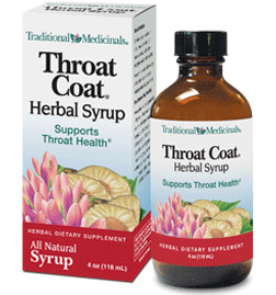 Traditional Medicinals Throat Coat® Herbal Syrup   4 oz. bottle   Since 1974, Traditional Medicinals® has been offering the highest quality pharmacopoeial grade herbal products available in North America. Now, the same clinically-tested Throat Coat® Herbal Tea formula is available in this convenient ready-to-use liquid syrup form, delivered in a sweet tasting base of kosher glycerin and organic honey with organic peppermint leaf essential oil. When you don't have time to make Organic Throat Coat® tea, try Throat Coat® Herbal Syrup or alternate with the tea throughout the day.