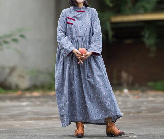 Cotton gray pink Loose Fitting dress for women Vintage   Etsy