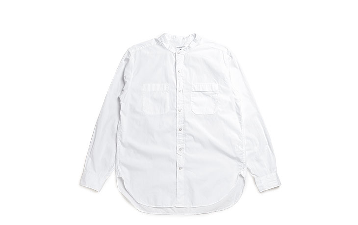 ENGINEERED GARMENTS/Banded Collar Shirt-Superfine Poplin-White