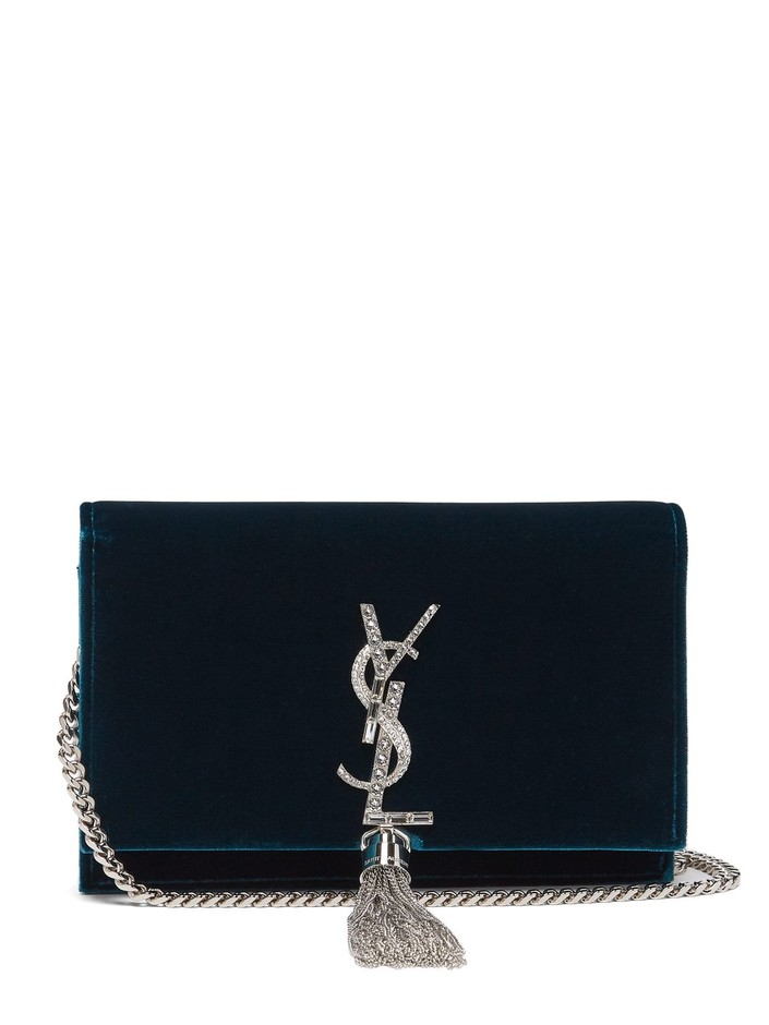 Kate crystal-embellished velvet cross-body bag | Saint Laurent | MATCHESFASHION.COM