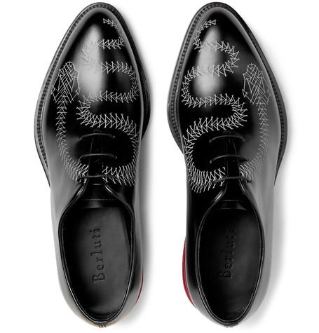 Berluti - Printed Whole-Cut Polished-Leather Oxford Shoes