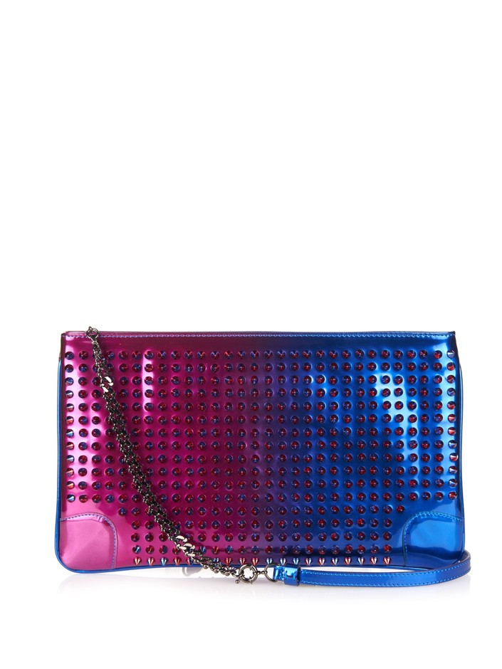 Loubiposh Scarabe Spikes patent-leather pouch   Christian Louboutin   MATCHESFASHION.COM