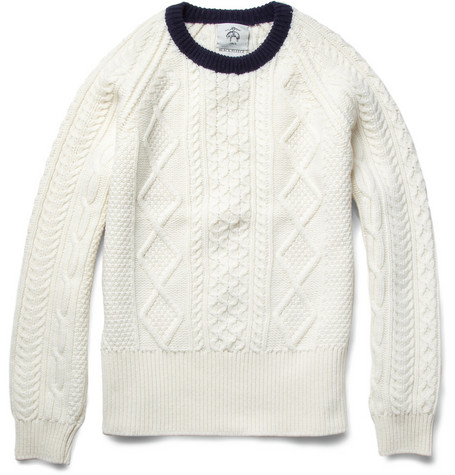 Black FleeceCable Knit Wool Sweater|MR PORTER