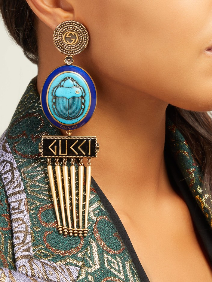 GG scarab and tassel-drop clip-on earrings | Gucci | MATCHESFASHION.COM JP