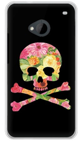 Flower skull ブラック (ソフトTPUクリア) design by ROTM / for HTC J One HTL22/au