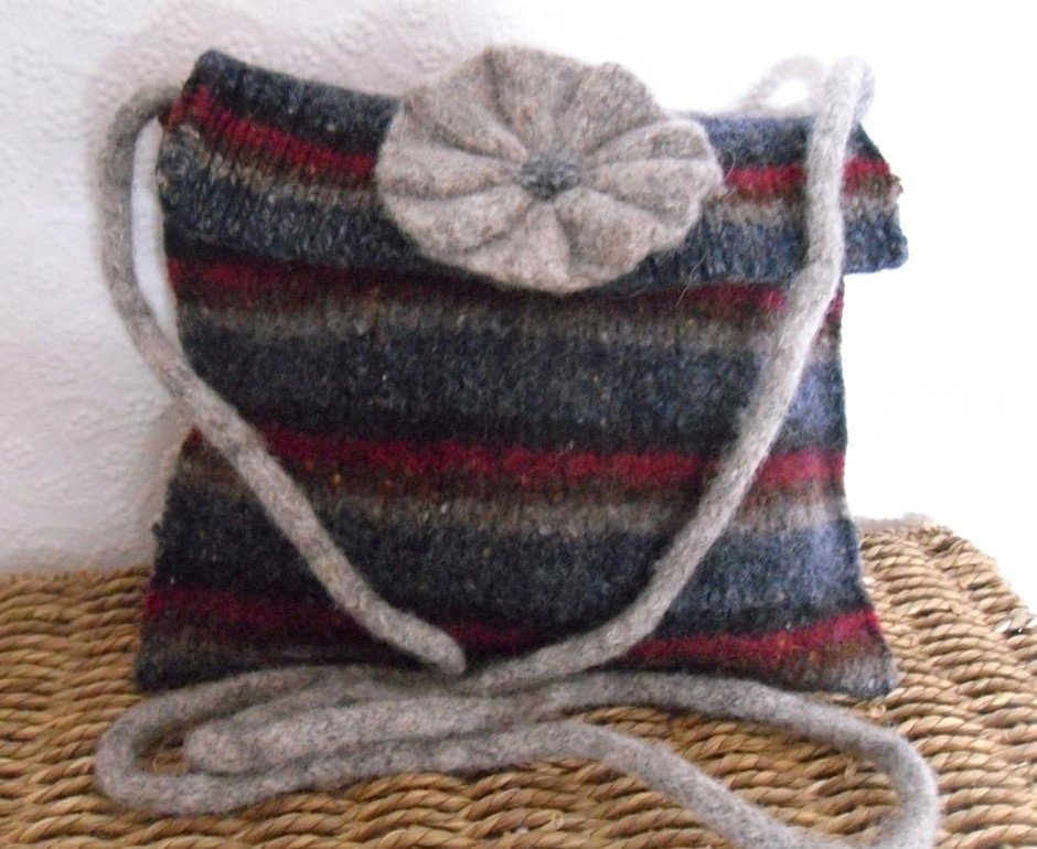 Striped Woollen Messenger Bag Grey / Blue / Maroon Made From Felted Upcycled Jumper With Flower Moti | Luulla