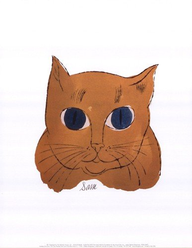 Amazon.com: Andy Warhol 25 Cats Named Sam and One Blue Pussy 1954 Gold Sam Art Print Poster - 11x14: Home & Garden