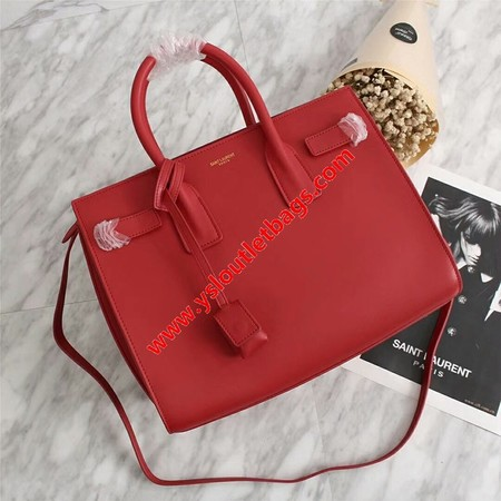 Saint Laurent Small Sac De Jour Bag In Leather Red