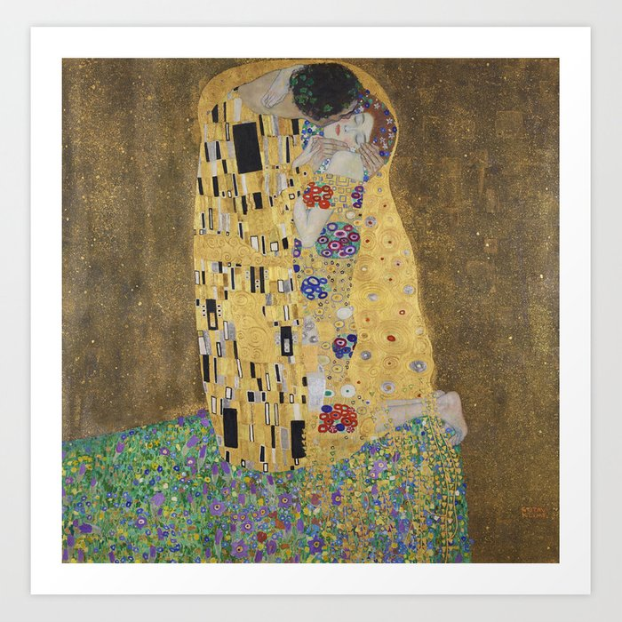 Gustav Klimt, The Kiss (Lovers), 1908 - Reproduction under Belvedere, Vienna, Creative Commons License CC BY-SA 4.0 Art Print by beautifulhomes | Society6