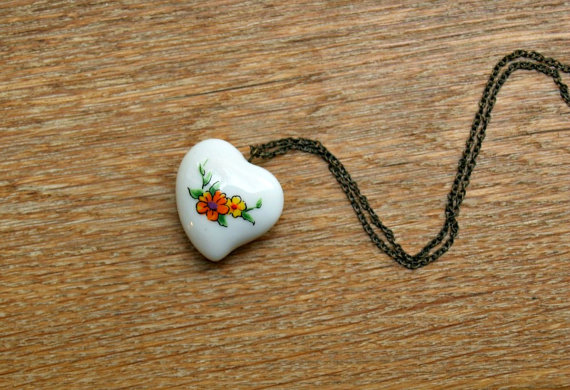 Floral Porcelain Heart Necklace by gystefania on Etsy