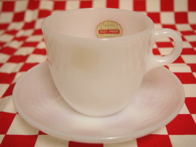 FIRE KING White 1700 Line St Denis Cup & Saucer (67) | Jadeite Magic Gallery