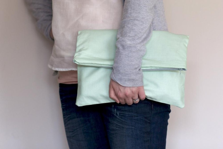 Fold Over Zipper Clutch In Pastel Mint Green With Slate Grey (gray) Lining | Luulla