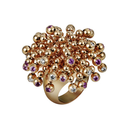 Paris Nouvelle Vague ring - Pink gold, diamonds, pink sapphires - Fine Rings for women - Cartier