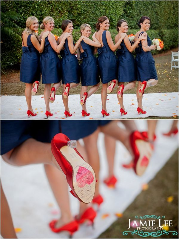 Wedding / This is adorable! :) I want a fun dark color for a background and bright pops of color... leaning toward this navy, purple, fuschia, blue thing. So picture these shoes purple or something. :)