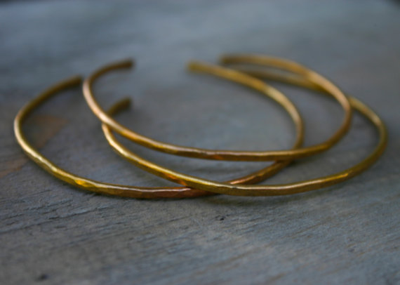 Stacking Bangles Cuffs Set of 3 Copper Brass or by xVELVETx