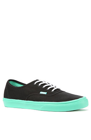 Vans Authentic Lite Sneaker in Black and Biscay Green - BrickHarbor.com