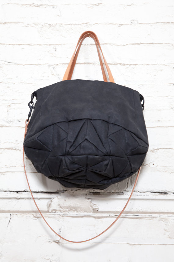 dark crystal tote waxed cotton and leather by GenevieveSavard