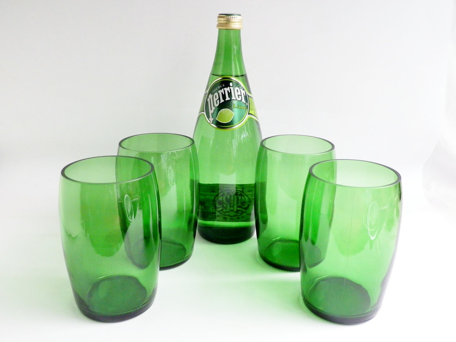 Large Perrier Mineral Water Glasses Tumblers Set of by BoMoLuTra