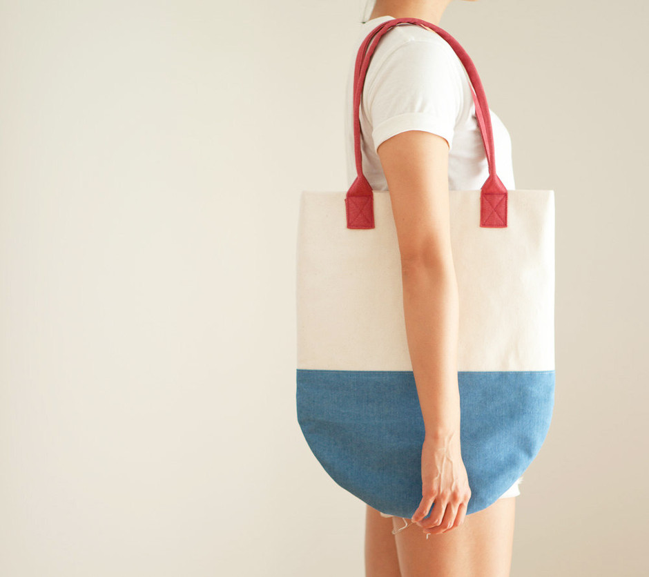 Rocket Pop SemiCircle Color Block Beach Tote by themadeandfound