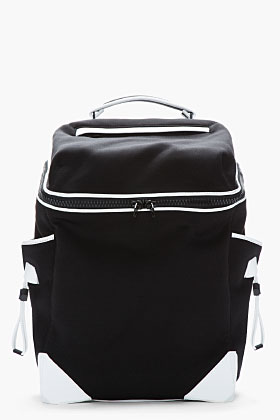 Alexander Wang Black & White Leather-trimmed Neoprene Wallie Backpack for men | SSENSE