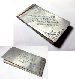 "Table&Desk - 1910-20's Aluminum ""Advertising"" MINI Notebook - FUNNY SUPPLY □ Antiques ■ - FUNNY SUPPLY"