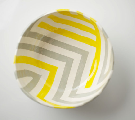 Grey & Yellow Zag Bowl by upintheairsomewhere on Etsy