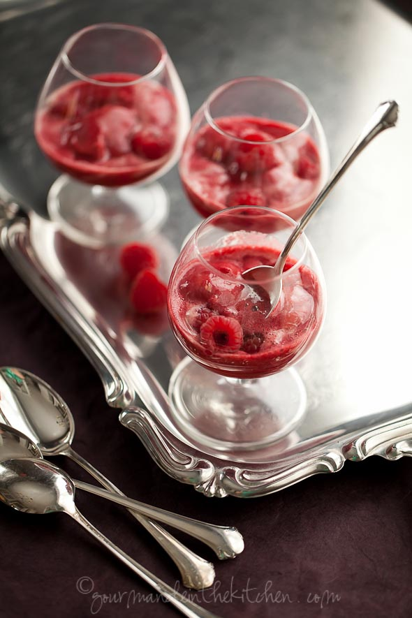 Raspberry Lychee Sorbet Served with Champagne (Champagne Floats) | Gourmande in the Kitchen