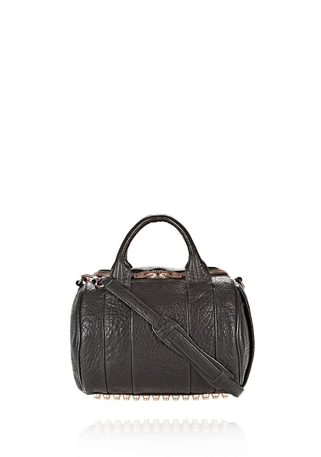 Black Rockie In Pebbled Black With Rose Gold - Alexander Wang