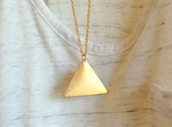gold triangle necklace geometric jewelry by theswanlake on Etsy