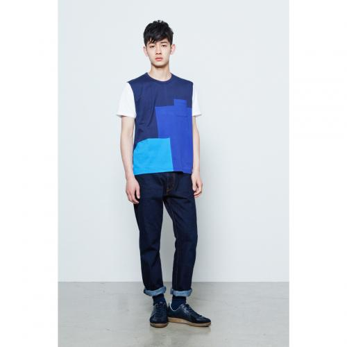 Patchwork - Color Block S/S T-shirt (Navy-Blue) - Aloye Store