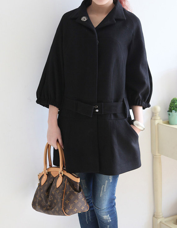 Standup collar Covered button Wool coat by MaLieb on Etsy