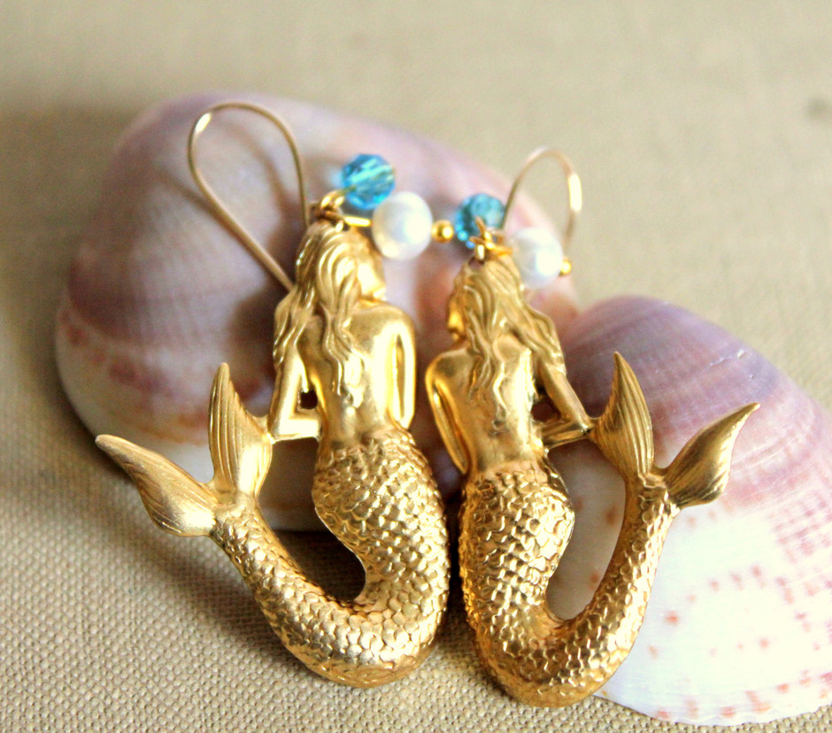 Vintage style Mermaid earrings Gold field hooks & real by iloniti