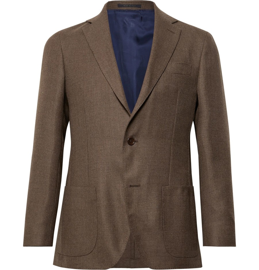 Brown Brown Kincaid No 1 Unstructured Wool-Hopsack Blazer | Sid Mashburn | MR PORTER