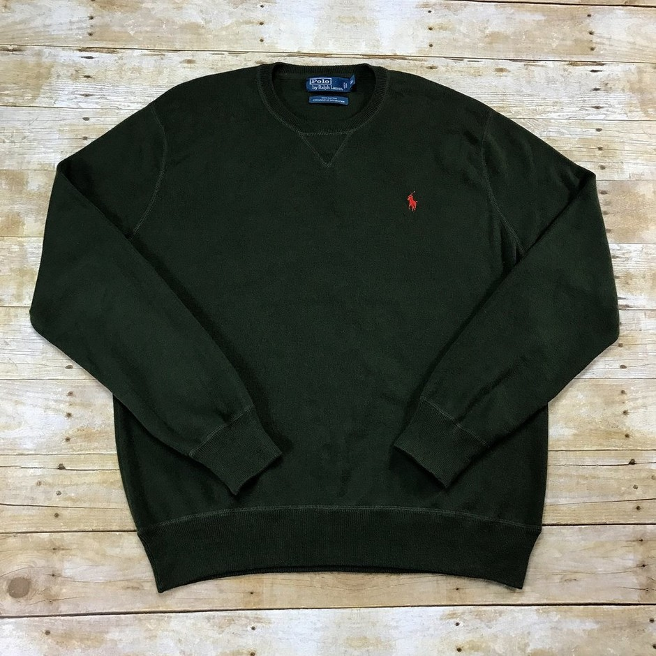 Polo by Ralph Lauren Army Green Cotton Sweater Mens Size XL | Vintage Mens Goods