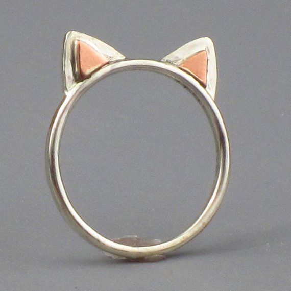 Kitty Cat Ears Ring Sterling Silver Free by FancyBrandRings