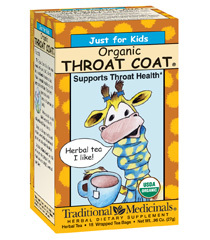Traditional Medicinals Just for Kids - Organic Throat Coat®   1 box (16 tea bags)   'Just for Kids' Organic Throat Coat® Tea is made especially for your child. Children's bodies need special attention and care. We've made this tea to be safe for your child, with mild herbs in child-size amounts. Using classic European herbal combinations, we've blended the wisdom of generations with modern knowledge. Your child will enjoy drinking Organic Throat Coat® Tea due to its slightly sweet and spicy flavor.