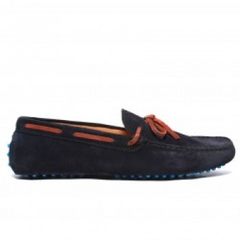 Men's Navy Suede Driver with Cognac Laces. Turquoise Marbled Gommini Sole.